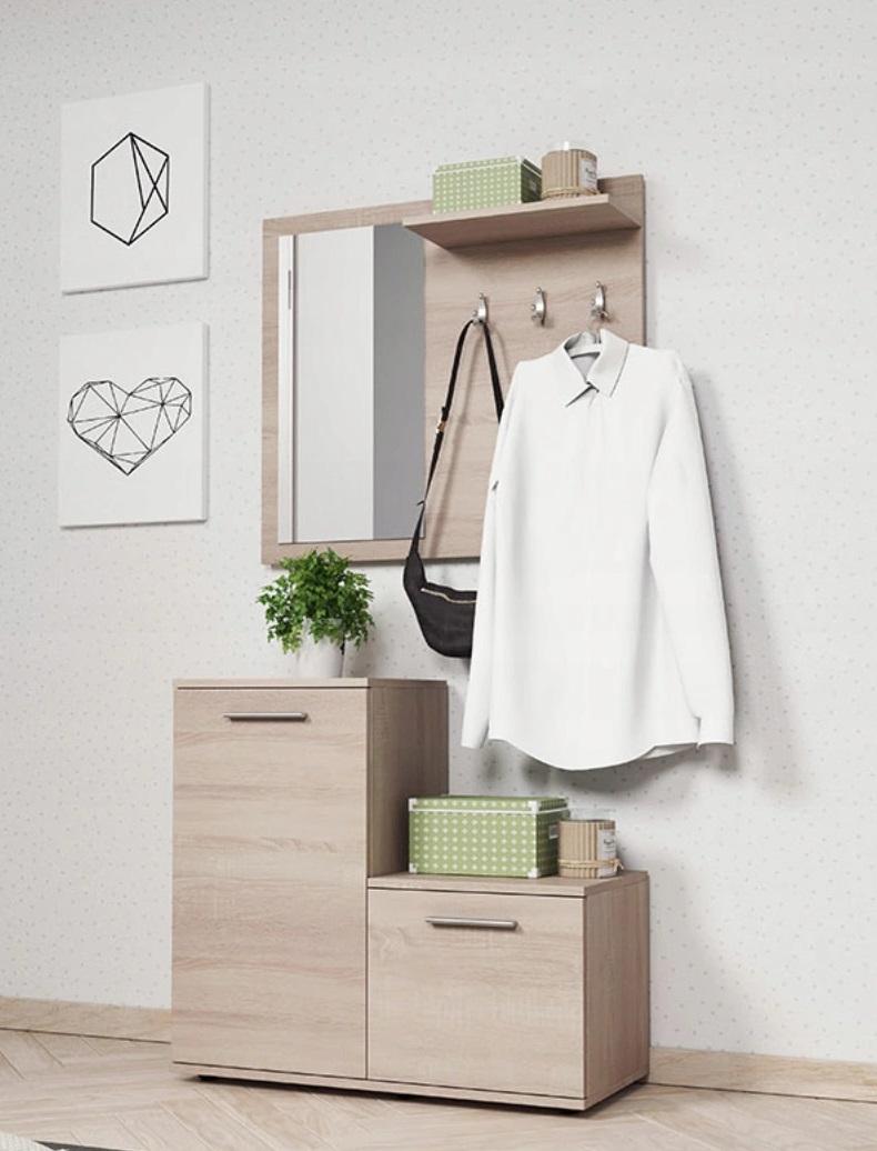 Biała Garderoba Przedpokój 80cm Wieszak Lustro Monia Ps